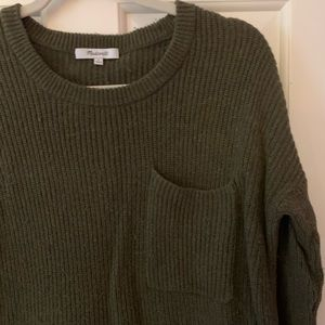 Olive green Madewell sweater with pocket